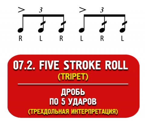 five stroke roll (дробь по 5 ударов)